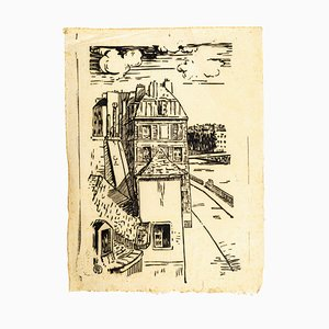 House on The River - Original Woodcut - First Half of 20th Century First Half of 20th Century