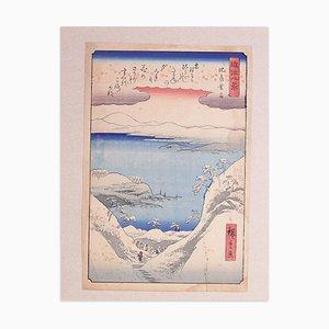 Twilight Snow at Hira - Holzschnitt nach Hiroshige Utagawa - spätes 19. Jahrhundert spätes 19. Jahrhundert