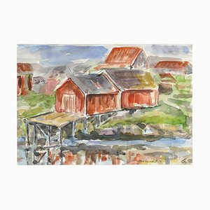Wooden Huts - Original Watercolor by Armin Guther - 1986 1986