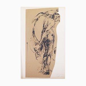 Dessin Original Pen sur Papier par Paul Garin - 1950s 1950s