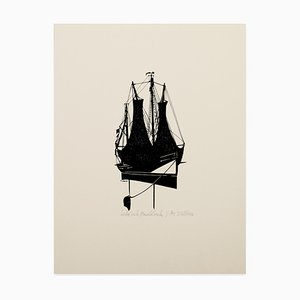 Silhouette of a Sailing Ship - Original Screen Print - 1970s 1970s