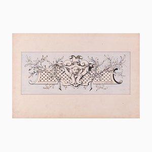 Panel with Head - Original Lithografie auf Papier von A. Moreau-Neret - Früh 1900 Frühes 20. Jahrhundert