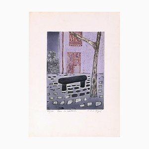 Banc De Leautaud - Original Lithograph by Jacques Joachim Jean Rigal - 1970s 1970s