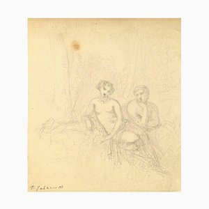 Naked Couple - Pencil on Paper by T. Johannot - Mid 19th Century Mid 19th Century