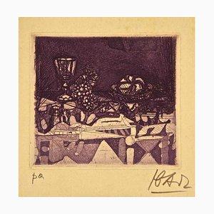 Tasse mit Schale - Originale Radierung und Aquatinta von Miguel Ibarz - 1960er 1960er