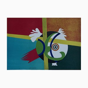 Green Abstract - Original Lithographie von G. Raimondi - 1970er 1970er