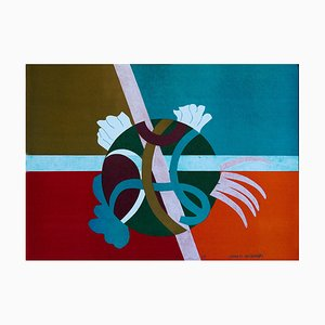 Orange Abstract - Original Lithographie von G. Raimondi - 1970s 1970s