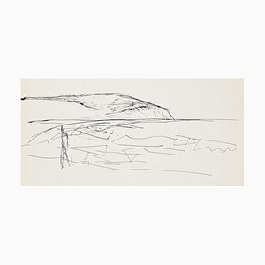 Sketch For a Landscape Painting - Original Pen Drawing by Flor David - 1950s 1950s