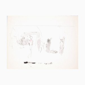 Silhouettes - Original Pen and Watercolor Drawing by Flor David - 1950s 1950s