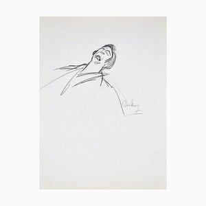 Pathos - Original Charcoal Zeichnung von Flor David - 1950er 1950er