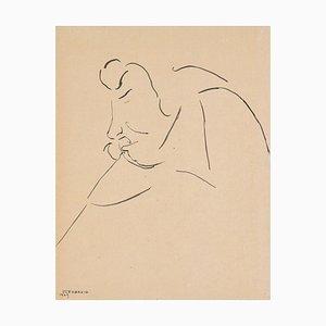 Tartuffe - Original China Ink Drawing by Flor David - 1949 1949