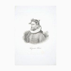 Torquato Tasso - Radierung in Schwarz & Weiß von G. Marcucci - Mitte 19. Jh. Mi 19. Jh
