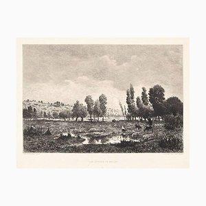 Les Côteaux de Melun - Radierung und Aquatinta nach Théodore Rousseau - Ende 1800, Ende 19. Jh
