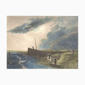 The Old Pier at Littlehampton - Lithograph on Paper by J. Cousen - Mid-1800 Mid-19th Century