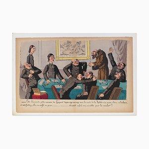 A Satirical Scene - Original Lithograph by E. Lavrate - 1860s 1860s