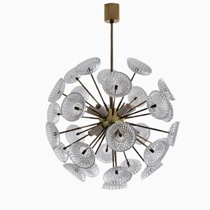 Large Brass and Glass Sputnik Chandelier