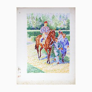 Jockey Nr. 9 On Horseback - Original Lithographie von S. Mendjisky - 1970s 1970s