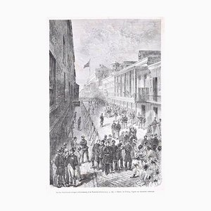 La rue Saint-Louis - Original Woodcut Print by Bertrand, After Valnay - 1880 1880