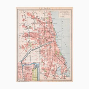 Chicago - Lithograph on Paper from ''Brockhaus Encyclopedia - 1905 1905