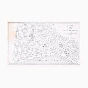 Lithographie Originale Plan de la Nouvelle Orléans - 1880 1880