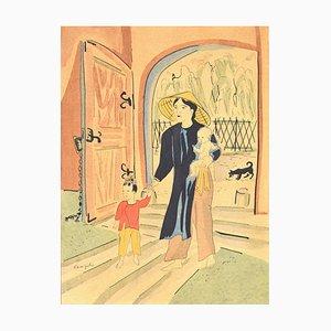Back Home - Original Lithograph by L.T. Foujita - 1928 1928