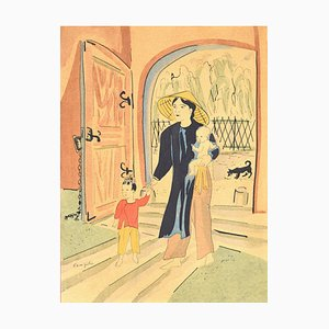 Back Home - Original Lithographie von LT Foujita - 1928 1928