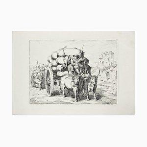 Carri con carico di Carbone - Original Etching by Bartolomeo Pinelli - 1831 1831