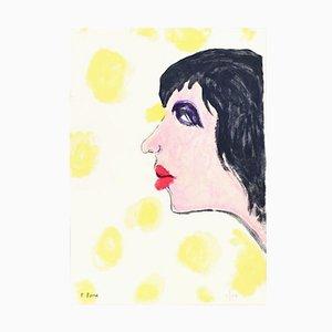 Woman In Black - Original Lithograph by P. Borra - 1973 1973