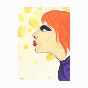 Woman In Red - Original Lithograph by P. Borra - 1973 1973