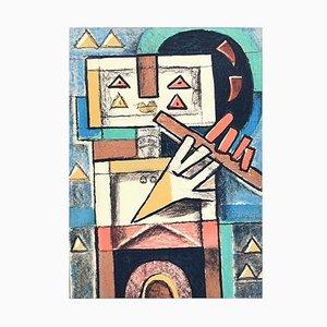 Flute Player - Original Lithograph by I. Kodra - 1975 1975