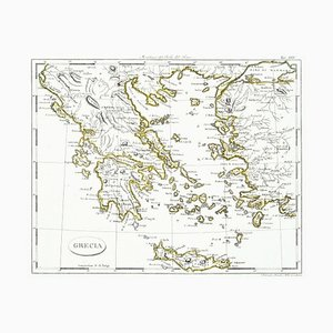 Map of Greece - Etching on Paper 19th Century 19th Century