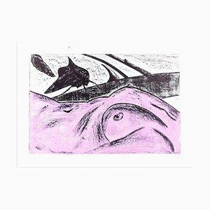 Pinker Akt - Original Lithografie von Nino Terziari - 1970s 1970s