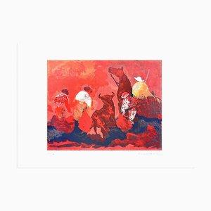 Bullfight in Red - Original Screen Print by José Guevara - 1989 1989