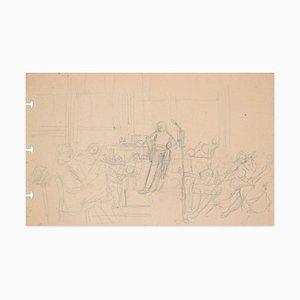 A Concert - Original Bleistiftzeichnung - Spätes 19. Jahrhundert, 19. Jh
