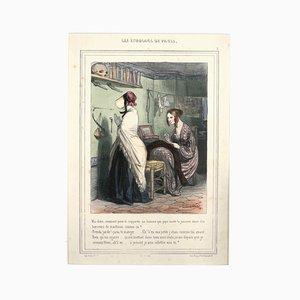 Les Étudians de Paris - Original Lithographie von Paul Gavarni - 1847 1847