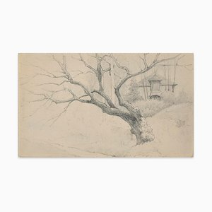 Tree and House - Charcoal by E.-L. Minet - Early 1900 Early 20th Century
