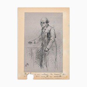 Portrait of Teacher - Dessin au Plume Original par ACC Rodet - Mid 19th 19th Century Mid-19th Century