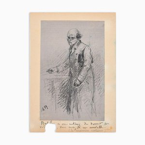 Portrait of Teacher - Original Pencil Drawing by ACC Rodet - Mid 19th Century Mid 19th Century