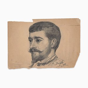 Portrait of Young Man - Original Charcoal Drawing by French Artist - 1882 1882