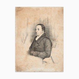 Retrato masculino - Lápiz original con dibujo a carboncillo de artista francés, finales del siglo XIX