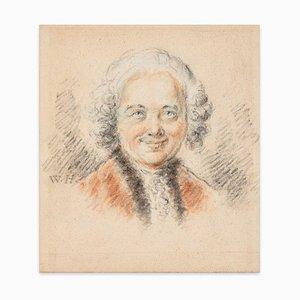 Portrait Mâché / Étude pour Portrait Féminin - Dessin Charbon et Pastel Fin 1700 Fin 18ème Siècle