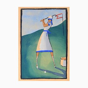 Golf Player / Woodcut Hand Colored in Tempera on Paper - Art Deco - 1920s 1920s