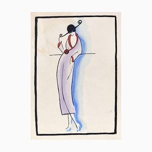 Fashionable Woman / Woodcut Hand Colored in Tempera on Paper - Art Deco - 1920s 1920s