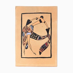 Trial Cloth / Woodcut Hand Colored in Tempera on Paper - Art Deco - 1920s 1920s