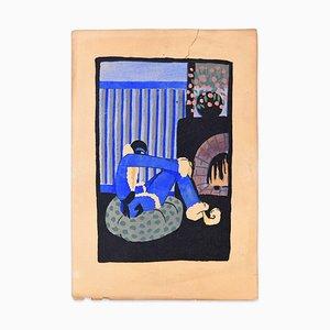 Blaues Weihnachten - Handbemalter Holzschnitt in Tempera auf Papier - Art Deco - 1920er 1920er