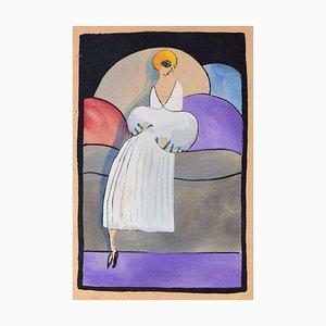 Frau in Weiß / Holzschnitt Handbemalt in Tempera auf Papier - Art Deco - 1920er 1920er