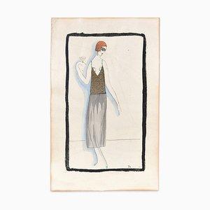 Frau mit Getränk - Handbemalter Holzschnitt in Tempera auf Papier - Art Deco - 1920er 1920er