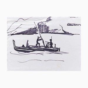 Gondola - lack Marker Drawing on Paper - Mid 20th Century Mid 20th century