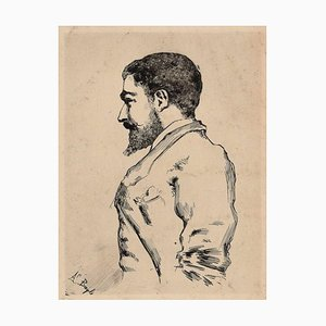 Male Portrait - Original Etching by French Artist End of 1800 End of 19th Century