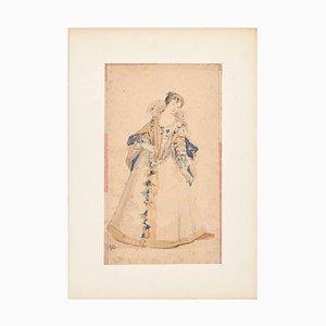 La Belle Dame - Bleistift und Aquarell von Unknown French Artist 19. Jahrhundert 19. Jahrhundert